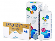 Frequency 55 Aspheric (6 linser) + Gelone Linsevæske 360 ml