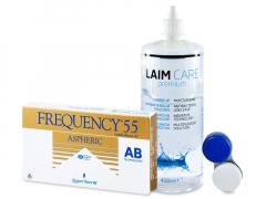 Frequency 55 Aspheric (6linser) +Laim-CareLinsevæske 400 ml